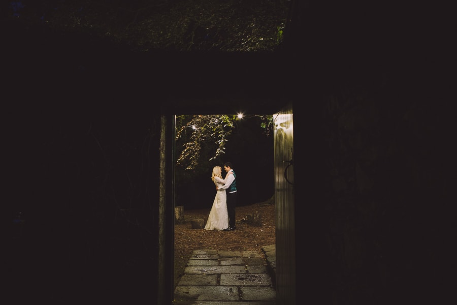 Bride and groom through door Wicklow wedding