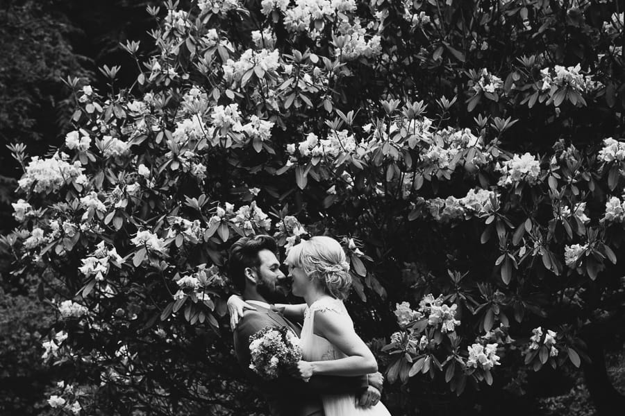 Rhododendron black and white wedding photo
