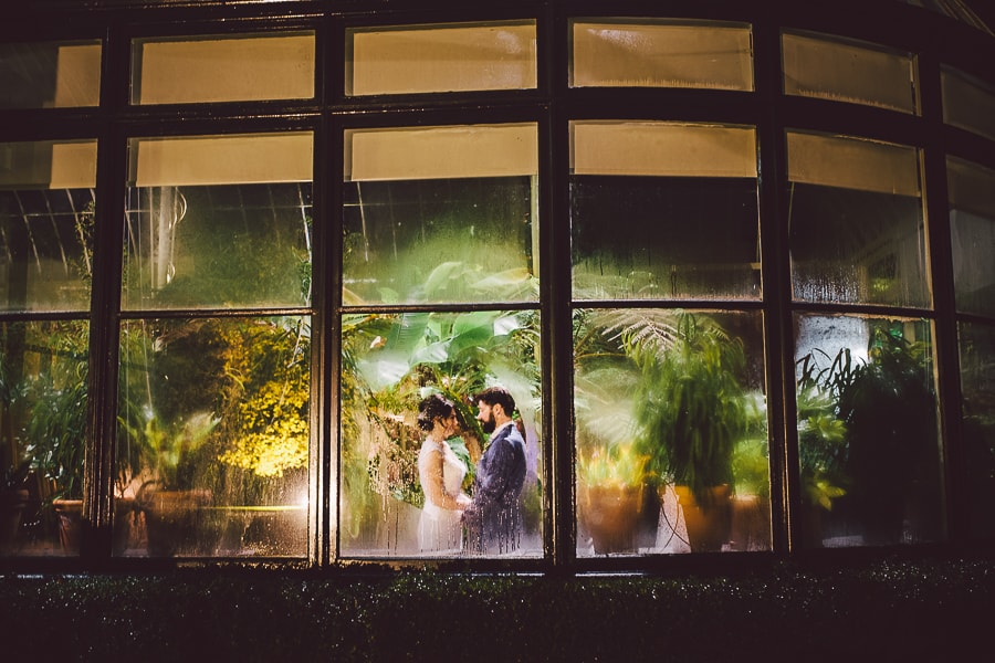 Through the glass wedding photo